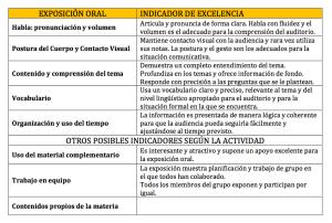 Ejemplo de rúbrica para la evaluación de una exposición oral